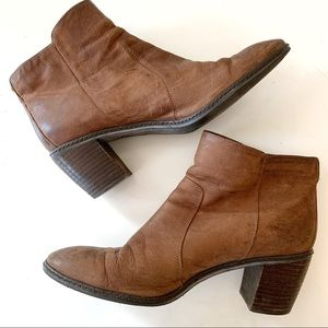 Anne Klein Brown Leather Side Zip Ankle Booties
